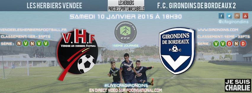 Cfa Girondins : [J15] Chez le leader, Les Herbiers - Formation Girondins