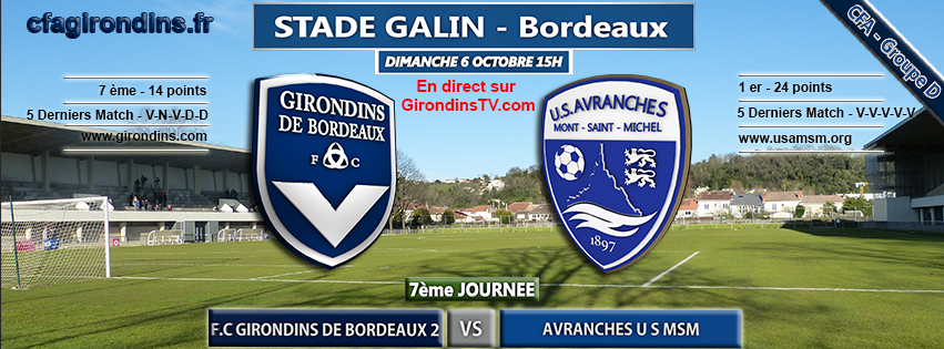 Cfa Girondins : [J7] Réception du leader Avranches - Formation Girondins