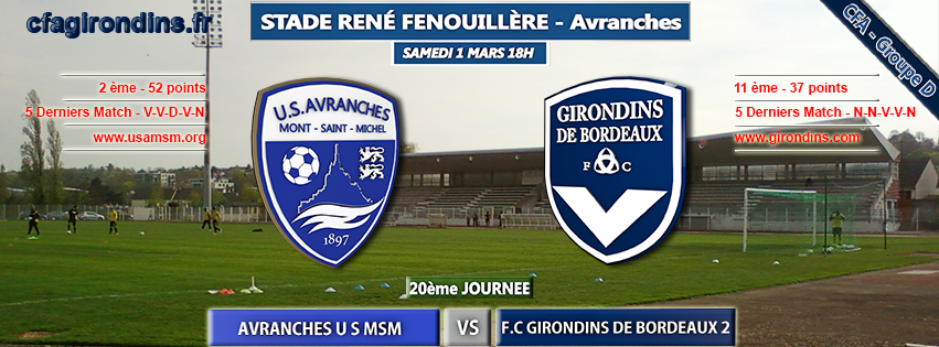 Cfa Girondins : [J20] Déplacement à Avranches - Formation Girondins