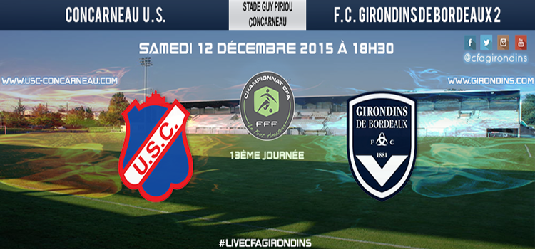 Cfa Girondins : J13 : A Concarneau, chez le leader - Formation Girondins